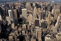 aerial, Manhattan, New York City, N.Y.C., New York, NYC, Aerial view of Manhattan from the Empire State Building looking north in downtown New York Ci...