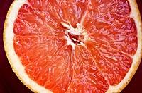 Pink Grapefruit half, fresh cut.