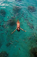 School of fish encircling woman floating in tropical ocean water.