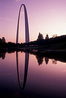 Gateway Arch, St. Louis, MO, Missouri, The Gateway Arch reflects in the pond at sunrise in Saint Louis. Jefferson National Expansion Memorial. Gateway...