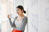 Smiling businesswoman leaning against whiteboard and drinking coffee (thumbnail)