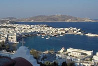 Greece, Mykonos, Greek Islands, Cyclades, Europe, Scenic view of Mykonos Harbor on the Aegean Sea.