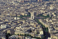 Paris, Ile de France, France, Europe, Aerial view of the city of Paris and the Arc de Triomphe looking North from the Eiffel Tower.