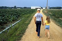 USA, Brother and sister walking down country lane