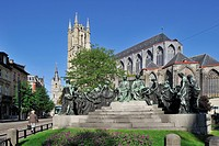 Monument in honour of the Van Eyck brothers and the Saint Bavo cathedral in Ghent, Belgium