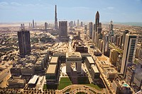 Aerial view of The Gate development, Dubai's International Stock Exchange. Tall buildings along Sheikh Zayed Road and the central business Dubai, Unit...