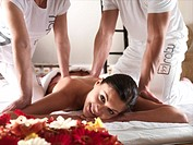 Woman at spa getting massage