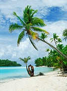 Couple kissing under palm trees on One Foot Island near Aitutaki in Cook Islands