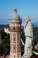 Spain, Barcelona, Tibidabo, Statue of sait and tower at Temple Expiatori del Sagrat Cor _ The Church of the Sacred Heart