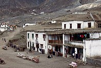 Houses in a valley, Muktinath, Mustang, Nepal