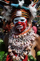 Papua New Guinea, highland festival, warrior portrait