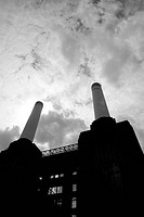 Low angle view of a power station, Battersea Power Station, Battersea, London, England