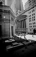 USA, New York City, New York Stock Exchange at Broad and Wall Streets, Morgan Trust building at left