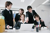 Five young businessperson working