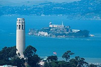 Coit tower on Telegraph hill, Alcatraz island in San Francisco bay