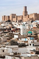 Tunisia, Tunisian Central Coast, Sousse, elevated view over the Medina towards the Kasbah and Sousse Archeological Museum, morning