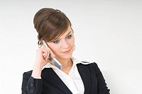 Businesswoman talking over cell phone