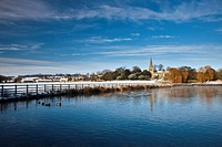 England, North Yorkshire, Brompton_by_Sawdon. All Saints´ Church in a snow covered landscape in Brompton_by_Sawdon.