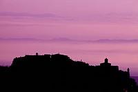 Italy, Tuscany, Chianciano town at dusk