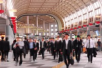 Japan, Tokyo, People in railway station