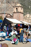 Peru, Pucara City, catholic church and market