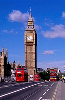 ENGLAND, LONDON, WESTMINSTER BRIDGE WITH BIG BEN AND RED DOUBLEDECKER BUSES