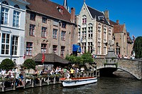 Belgium, Bruges, Tourists Boat on Canal