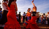 Spain, Andalusia, Seville, Fiesta and flamenco dancers
