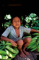 ECUADOR, AMAZON BASIN, NEAR COCA, RAIN FOREST, INDIAN BOY WITH BANANAS