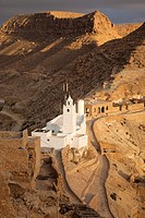 Tunisia, Ksour Area, Chenini, Berber village mosque view, sunset