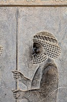 Iran - Persepolis - Bas relief carving of a soldier
