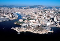 France, Provence, Marseilles, old harbour from the air