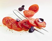 Tomato salad with red basil