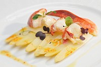 Lobster on white asparagus