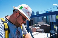 Portrait of construction worker in hardhat, Denver, CO, USA