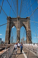 One of the towers of the Brooklyn Bridge. New York, New York. USA