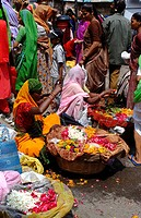 India, Udaipur, flower market