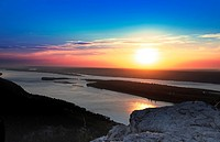 Sunset over Volga river in Russian National Park 'Samara Luka'