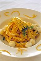 Tagliatelle with mozzarella and fennel