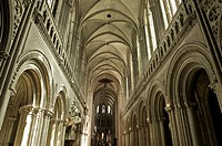 Interior of Norman-Gothic Notre Dame cathedral (12th century), Bayeux, Calvados, Lower Normandy, France