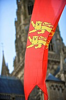 Norman flag and silhouette of Bayeux Cathedral, Bayeux, Calvados, Lower Normandy, France