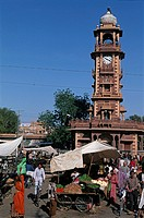 India, Rajasthan, Jodhpur, Sardar Bazar and clock tower