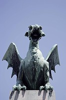 Slovenia. Ljubljana. A Bronze Dragon on The Dragon Bridge.