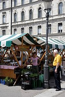 Slovenia. Ljubljana. Organic Food on sale at the Public Outdoor Central Market.