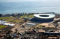 Green Point Stadium viewed from Signal Hill, Cape Town, South Africa.