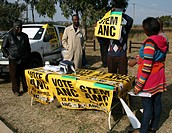 Campaign stand for ANC at a voting station in Pretoia, National and Provincal Elections, South Africa