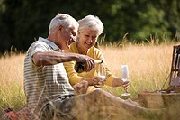 A senior couple having a picnic, man pouring champagne
