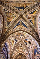 Italy, Tuscany, Siena, Interior of the Duomo, ceiling of the baptistery