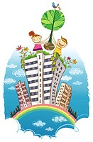 Two children carrying tree over the building (thumbnail)