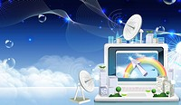 Communication Satellite Dish and laptop (thumbnail)